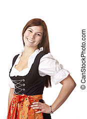 Portrait of young beautiful Bavarian woman in Oktoberfest Dirndl cloth