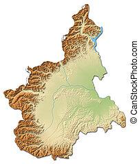 Relief map - Piemont (Italy) - 3D-Rendering