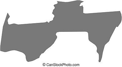 Map - Para Suriname - Map of Para, a province of Suriname