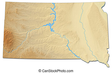 Relief map - South Dakota (United States) - 3D-Rendering
