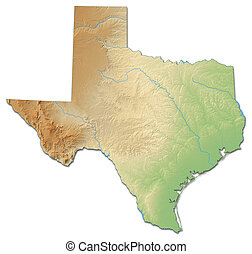 Relief map - Texas (United States) - 3D-Rendering - Relief...
