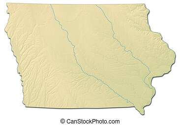 Relief map - Iowa (United States) - 3D-Rendering - Relief...