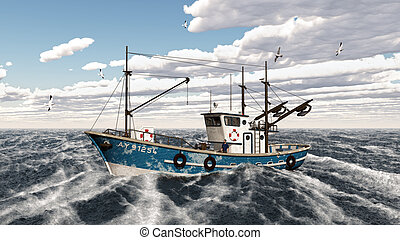 Fishing trawler - Computer generated 3D illustration with a...