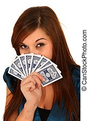 Pretty Woman Holding Cards