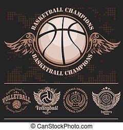 logotipo, norteamericano, baloncesto, Logotipos, deportes