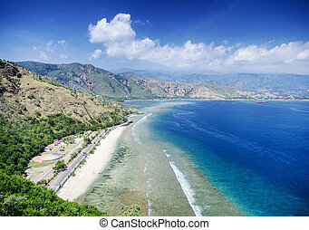 cristo rei landmark beach landscape view near dili east...