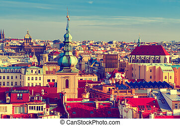 Red Prague roofs - view from the City Hall, travel european...