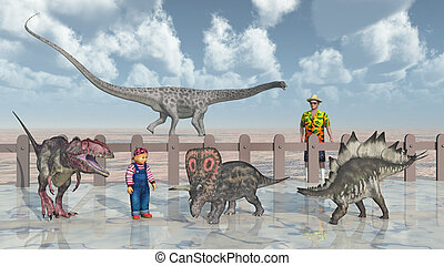 Dinosaurs in the petting zoo - Computer generated 3D...