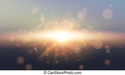 Sky Sun. Realistic Bokeh Design. Abstract Shining Background