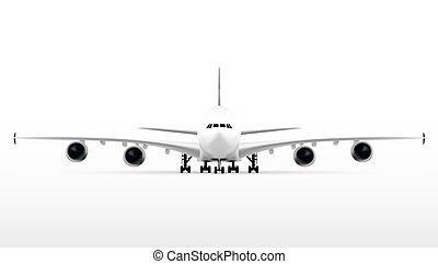 Vector Passenger Double-deck Lagest Jetliner. Vector plane
