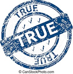 true blue grunge round vintage rubber stamp
