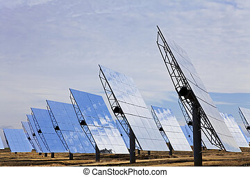 Field of Renewable Green Energy Solar Mirror Panels - A...