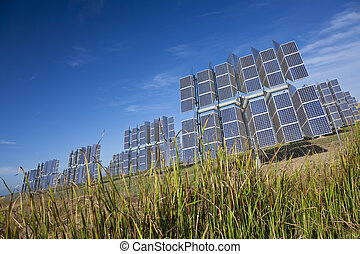 Field of Renewable Green Energy Photovoltaic Solar Panels