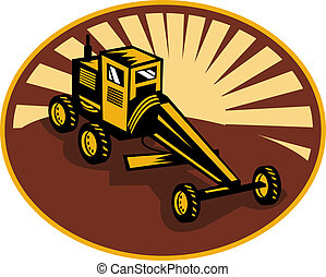 Construction road , blade or motor grader with sunburst in...