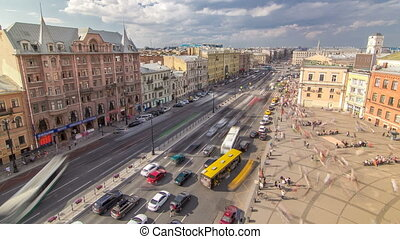 The view from the roof on Ligovsky Prospekt and Moskovsky train station timelapse. Russia. Saint-Petersburg.