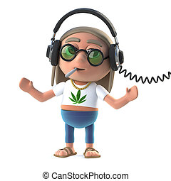 3d Hippie stoner listens to his headphones - 3d render of a...