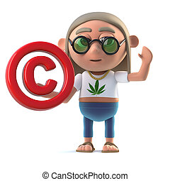3d Hippie stoner has a copyright symbol - 3d render of a...