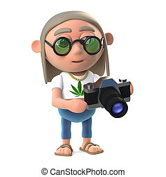 3d Hippie stoner has a new camera to play with - 3d render...