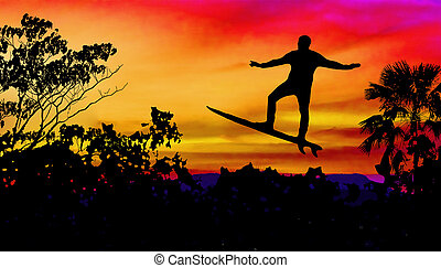 Man Surfing at Sunset Graphic Illustration - Graphic...