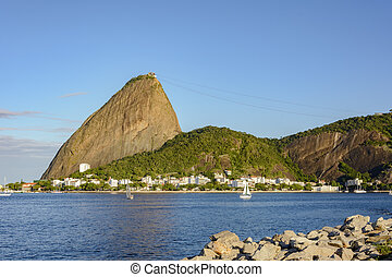 Sugar loaf and Botafogo cove - Botafogo Bay with their boats...