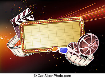 marque sign - illustration of retro illuminated Movie marque...