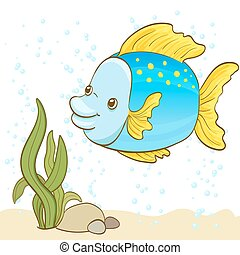 cartoon fish and bubbles in the water. vector illustration