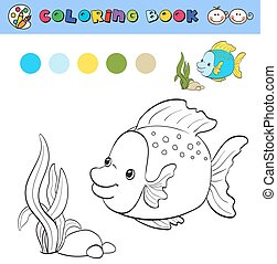 coloring book page template with tropical fish and plants,...