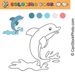 coloring book page template with jumping dolphin, color samples. vector illustraton