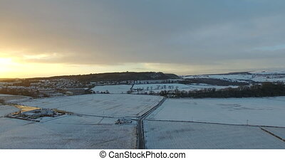 Fields during winter in Scotland - Aerial: Fields during...