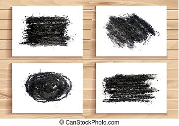 Hand drawn charcoal chalk texture set Vector charcoal design...