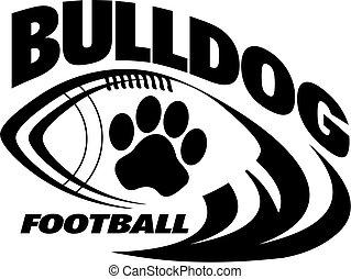 bulldog football team design with paw print for school,...