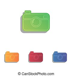 Digital photo camera sign. Colorfull applique icons set.