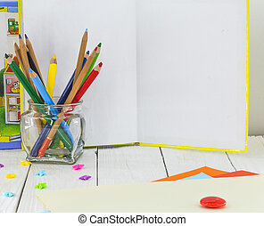 childrens creativity, pencils, scissors, colored paper - all...