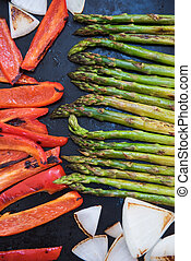 Fresh roasted vegetables - Grilled vegetables, red pepper,...