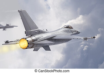 F-16 Fighting Falcon jets (models) fly through clouds - F-16...