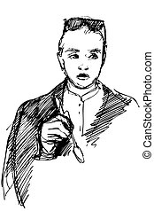 woman with a spoon in his hand - black and white vector...