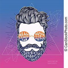 Hand Drawn Hipster silhouette on a modern polygonal...