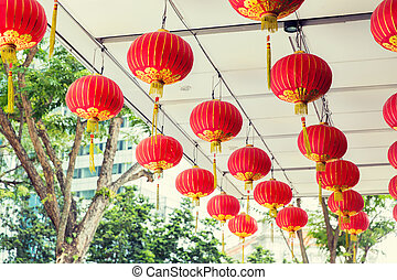 ceiling decorated with hanging chinese lanterns - asia,...