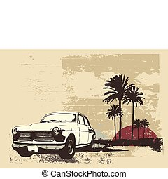 urban background - Vector illustration of vintage car on the...
