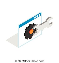 Computer repair icon, isometric 3d style - icon in isometric...