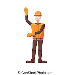 Builder icon in cartoon style - icon in cartoon style on a...