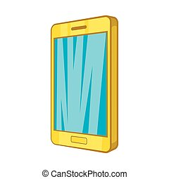 Smartphone icon in cartoon style - icon in cartoon style on...