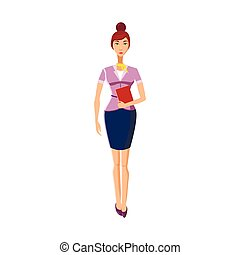 Businesswoman icon in cartoon style