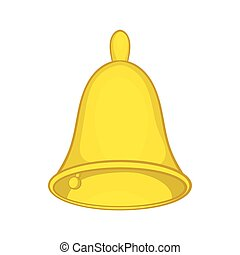 Golden hand bell icon, cartoon style - Golden hand bell icon...