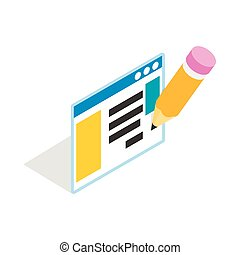 Document with pencil icon, isometric 3d style