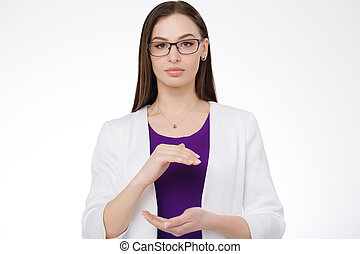 woman holding virtual object in her hands - business woman...