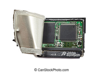 Damaged cf card - Broken CF memory card. Data loss concept