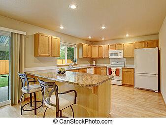 nuevo, clásico, madera, grande, cocina, con, gris,...