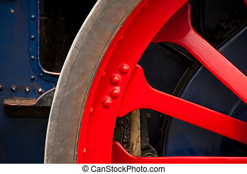 vintage wheel - colorful vintage steam traction engine wheel...