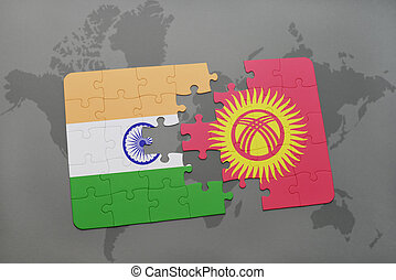 puzzle with the national flag of india and kyrgyzstan on a world map background.